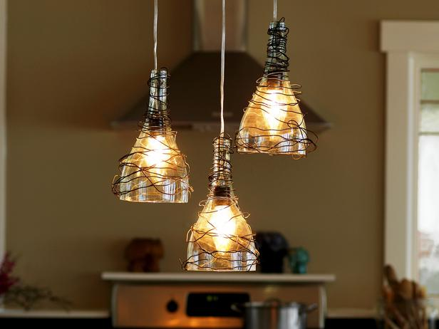 diy chandelier - wine bottle pendant