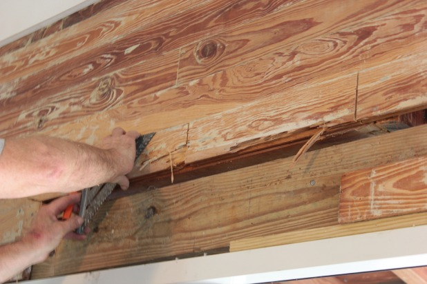 patching wood slat walls